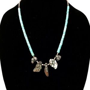 Vintage Necklace Turquoise And Abalone Shell